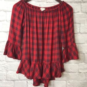 Beachlunchlounge Red Ruffle Flannel Blouse Size SP